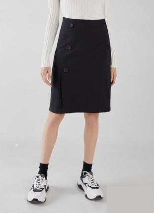 Обнова! юбка карандаш на запах черная с пуговицами миди новая бренд bershka