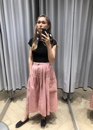 Шикарная льняная юбка