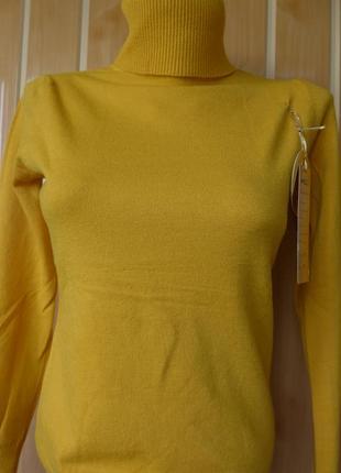 Гольф под горло свитер кашемир шерсть милано горчица цвета4 фото