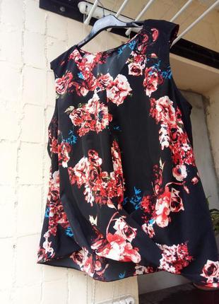 Черная белая коасная блуза майка кофточка туника драпировка цветы от papaya