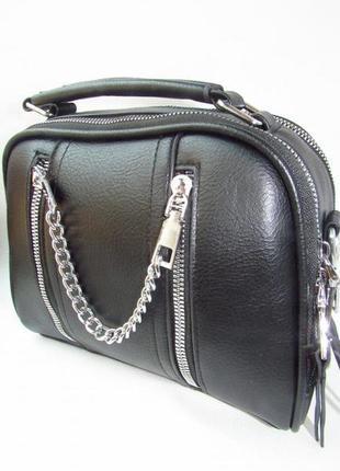 Черная кожаная сумка женская кросс боди клатч кроссбоди с цепочкой крутая стильная