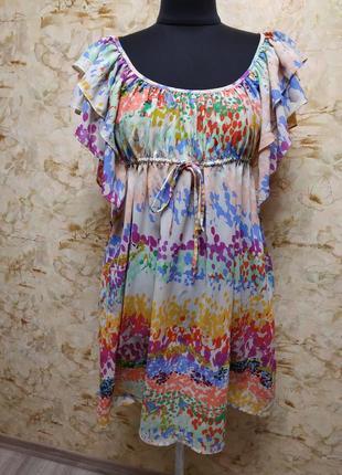 Яркое шелковое платье в сочных ярких тонах, размер 36-40