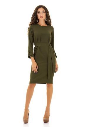 Платье осеннее миди зеленое хаки темно-зеленое с поясом длинным рукавом
