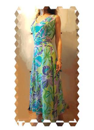 Красивенное платье сарафан и шаль длинное макси в пол цветочный принт