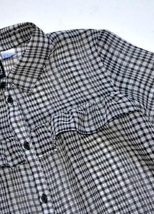 H&m. стильная шифоновая рубашка с рюшами. р-р 6-8 . хс-с. 36. оверсайз