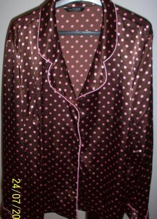 Шикарная пижамная атласная кофта в горошек