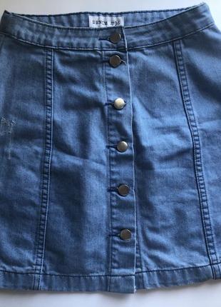 Юбка на пуговицах джинс