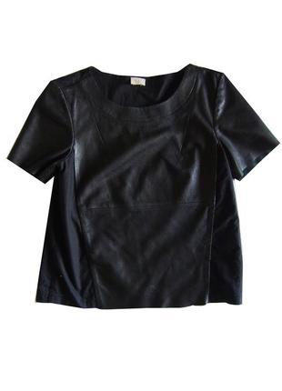 Кожаный топ футболка блузка с котоновой спинкой  h&m премиум качества