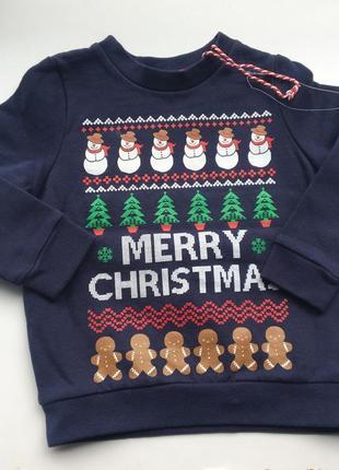 f6e2289c83a5e Рождественский новогодний утепленный свитер кофта реглан свитшот с оленями  3-4 98-104