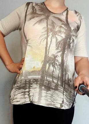 Золотистая футболка из вискозы gerry weber18-20 размер.