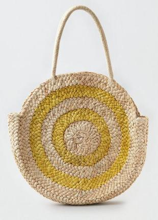 Новая фирменная большая круглая соломенная сумка плетённая пляжная american eagle сша