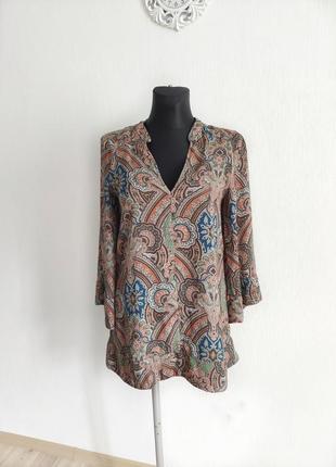 Блуза кимоно zara огуречный принт пейсли размер s