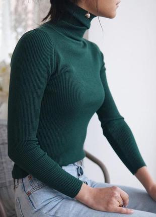 Гольф в рубчик , лапша свитер с горлом с отворотом