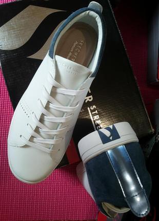 Белые городские кеды, кроссовочки, полуботиночки от skechers оригинал! 40 размера