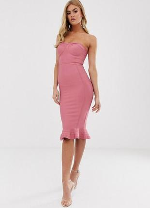 Бандажное платье-бандо цвета пыльной розы с оборкой  длины миди от prettylittlething