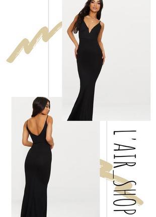 Вечерние черное платье в пол от pretty little thing