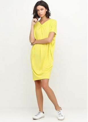Летняя желтая трикотажная туника пляжная платье можно для беременных