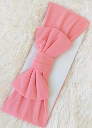 Розовая комфортная широкая повязка чалма с бантиком