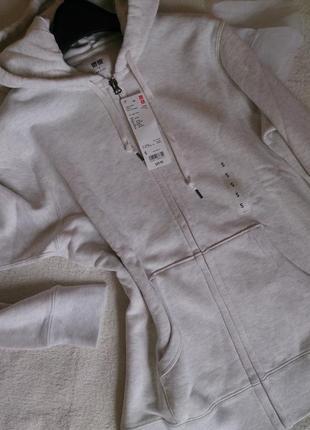 Худи на молнии full zip hoodie, m-l светло-серое унисекс.