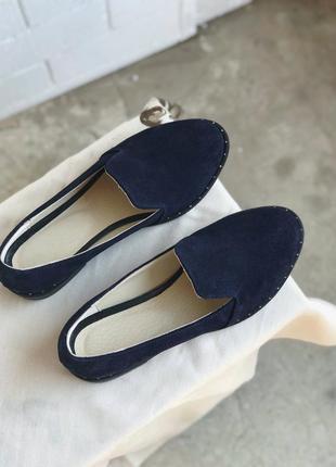 Лоферы туфли балетки из натурального синего зашма, кож подкладка 39