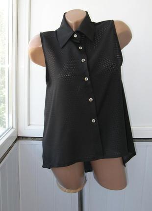 Рубашка безрукавка шифоновая, спереди перфорация, спинка удлиненная