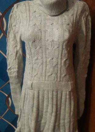 Вязаное платье туника, акрил, р.46-48 универсальный