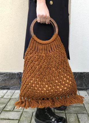 Вязаная,ажурная,трендовая сумка, торба, «авоська»,этно,бохо стиль