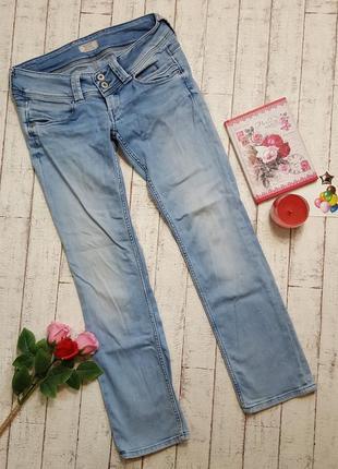 Светло голубые джинсы прямого кроя бренд pepe jeans р. l