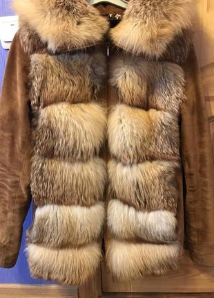 Куртка-трансформер из лисы с замшевыми вставками