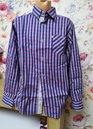 Красивая рубашка с длинным рукавом на мальчика 8-9лет.