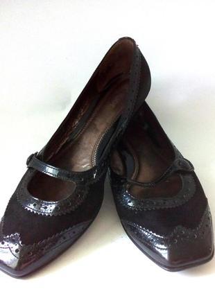 Удобные кожаные туфли на широкую ножку от немецкого бренда gabor, р.42 код t4218