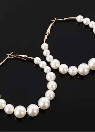 Серьги кольца сережки круглые жемчуг2 фото