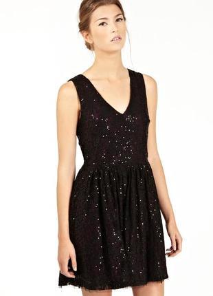 Шикарное вечернее кружевное платье в пайетки с вырезом на спине, платье на корпоратив