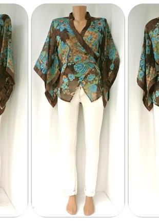 Оригинальная блузка-кимоно на запах bay. размер uk12, m.