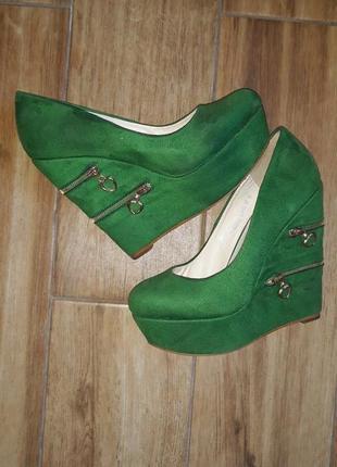Туфлі на платформі 12 см💚🔥