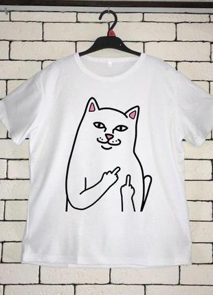Мужская футболка с принтом - кот, фак, футболка с рисунком