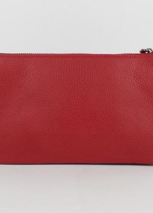 Клатч кожаный женский красный 070 турция6 фото
