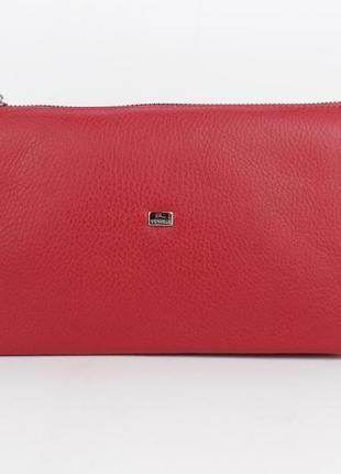 Клатч кожаный женский красный 070 турция5 фото