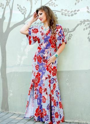 Платье макси asos с рукавами кимоно и цветочным принтом в стиле бохо4 фото