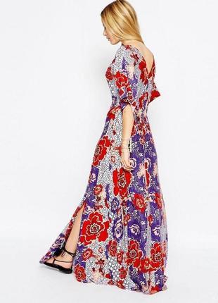 Платье макси asos с рукавами кимоно и цветочным принтом в стиле бохо7 фото