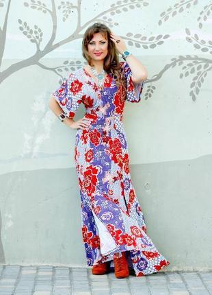 Платье макси asos с рукавами кимоно и цветочным принтом в стиле бохо8 фото