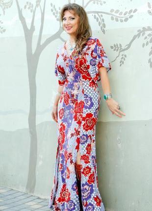 Платье макси asos с рукавами кимоно и цветочным принтом в стиле бохо9 фото