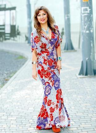 Платье макси asos с рукавами кимоно и цветочным принтом в стиле бохо6 фото