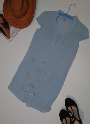 Прямое платье дымчато-голубого цвета/лондон