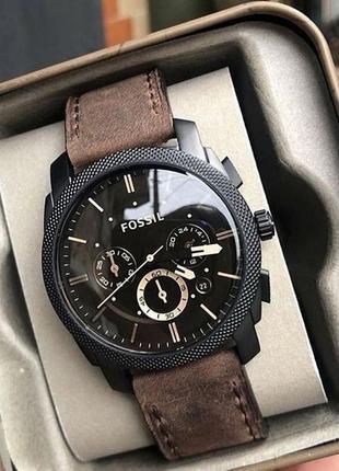 Мужские часы хронограф fossil machine fs4656