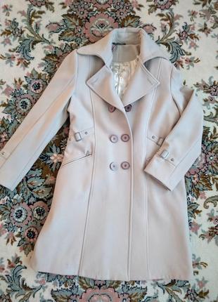 Бежевое кашемировое пальто 48-50 l-xl