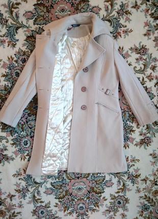 Бежевое кашемировое пальто 48-50 l-xl5 фото
