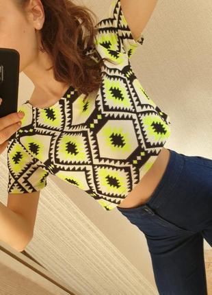 Яркий качественный стильный топ этно укороченная футболка