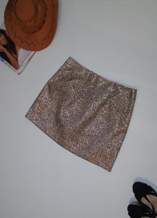 Кофейная юбка с блестящим рисунком