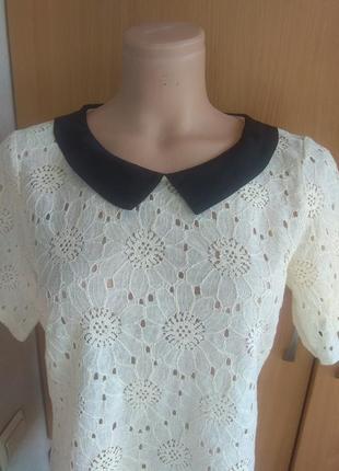 Блуза, футболка ажурная с черным воротом4 фото